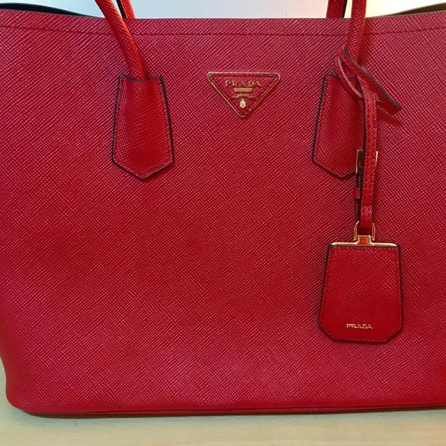 全新prada紅色手提包