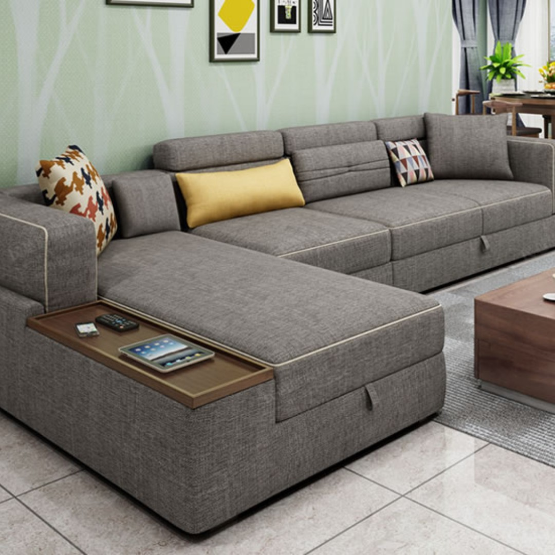 Three Seater L Shaped Sofa Set