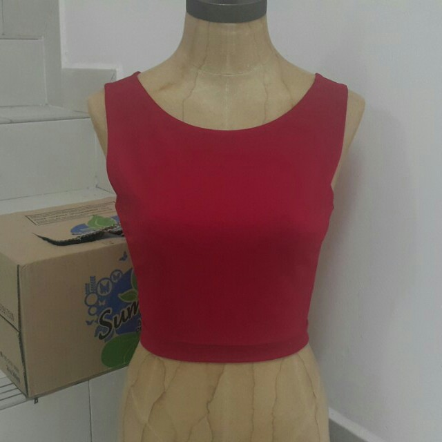 Red Cutout Crop Top