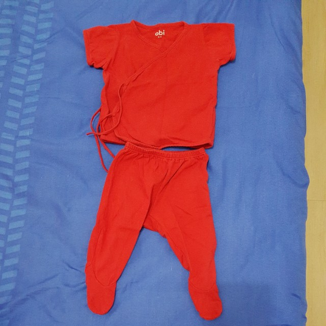 Red Terno Tie-side blouse and jammy with footsie (0-3 mos)