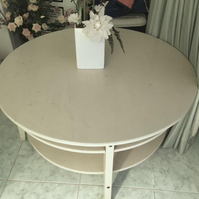 Round Cream Coffee Table with Shelves