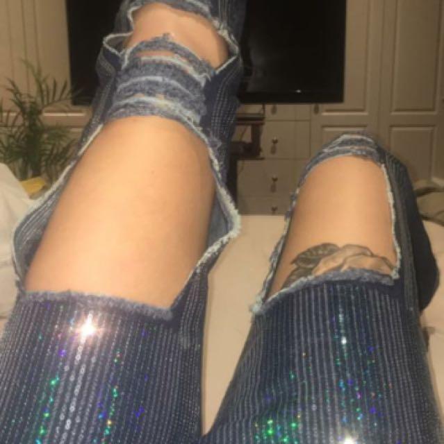 Sequin jeans size 6-8