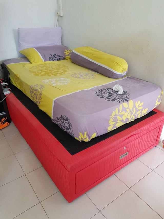 Storage super single bed frame, Furniture, Others on Carousell