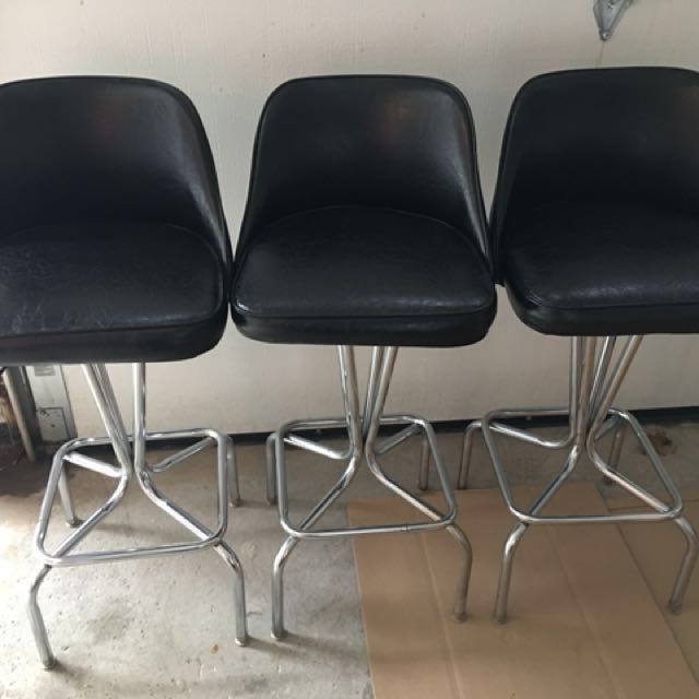 "Swivel Bar stools with bonded black leather and silver base. $50 each or all 3 for $110 Seat30"", total height 39"", foot rest  10"" from floor"