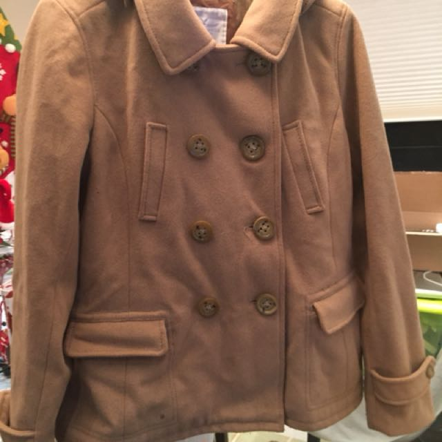 Tan peacoat size large