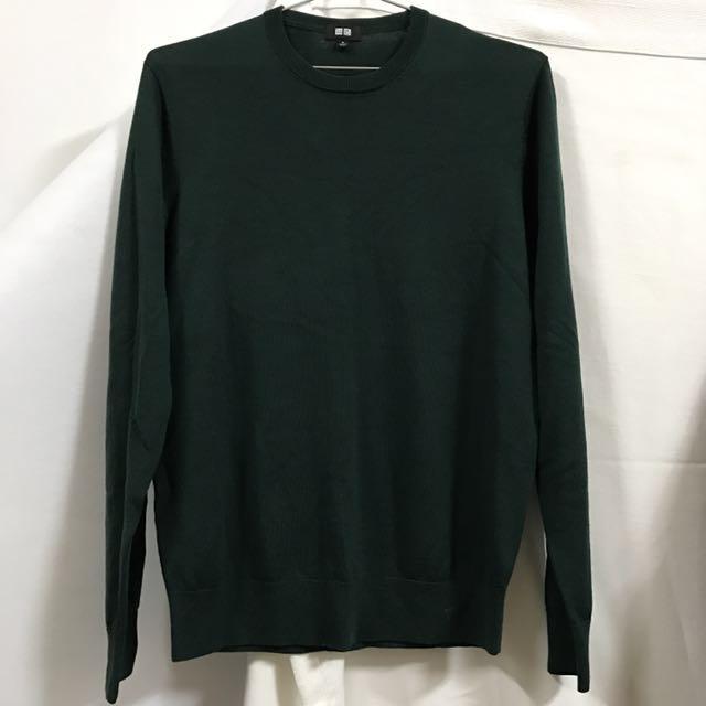 Uniqlo綠色細針織上衣毛衣薄款學院風