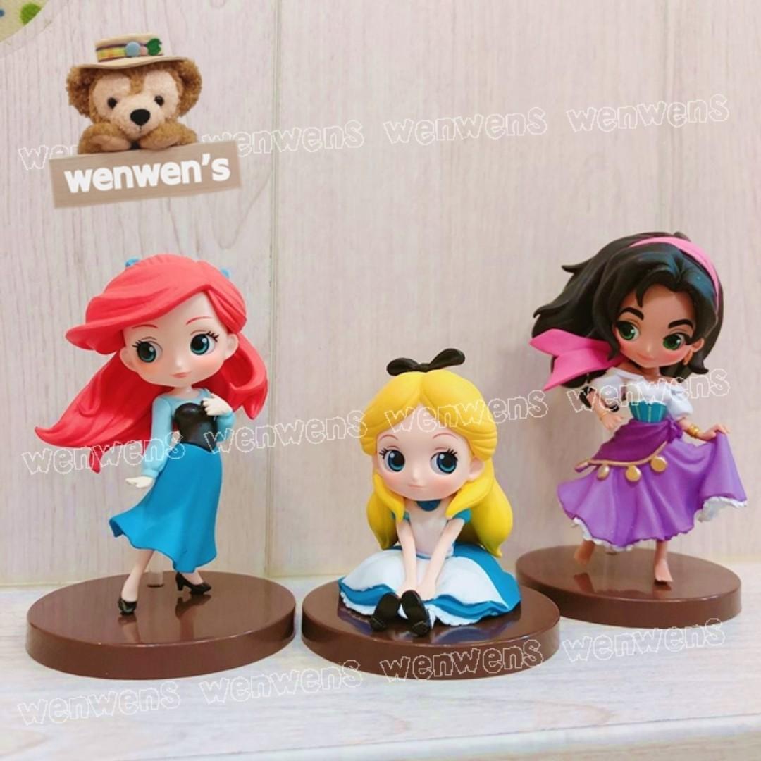 【Wenwens】日本帶回 日版 迪士尼 Qposket 愛麗絲 小美人魚 吉卜賽女郎 愛斯梅達 7cm 公仔 一套3款