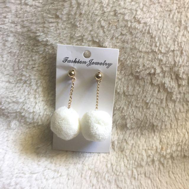 White Pom Pom Earrings