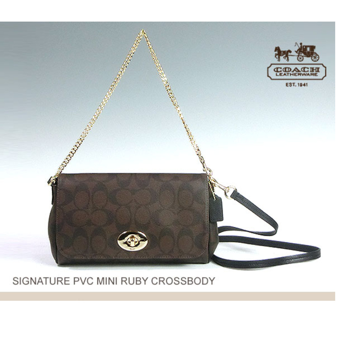 899b8a241fc0 Year End CLEARANCE!! COACH f34615 2Way MINI RUBY CROSSBODY IN SIGNATURE  CANVAS PINK BROWN