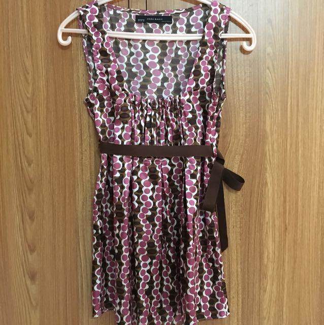 Zara Pink Polkadot Long Top