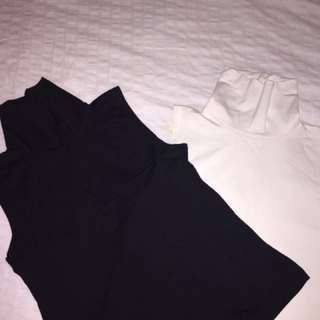 Black & White Muscle V-Neck Shirts