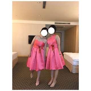 [二手晚禮服]西瓜粉紅小洋裝-單肩&平口