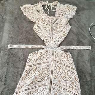 S Light Pink Open-Back Dress