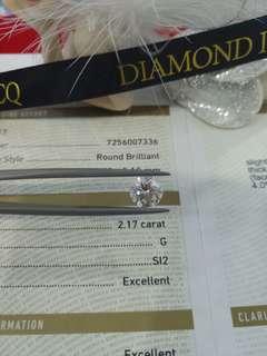 👰為摯愛送上驚喜💓搵緊靚鑽石嘅你請留意😎有粒正嘢在😁GIA 2.17 G SI2 3EX NON💥閃盡全場💥