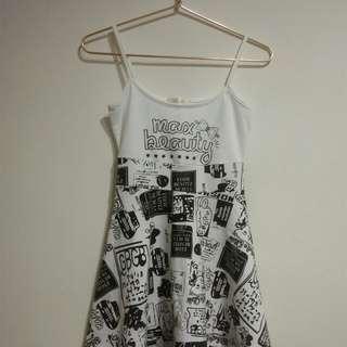 🚚 黑白塗鴉小洋裝