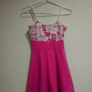 🚚 粉色塗鴉小洋裝