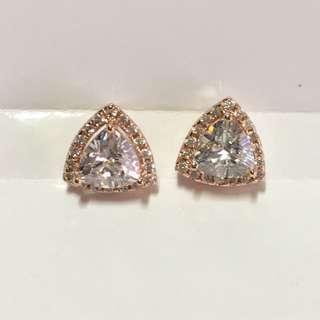 K金電鍍CZ石水鑽耳環(紅金色)😍夠閃好真,手工好靚,耳環直徑約10mm👍🏻