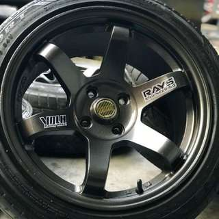 Te37sl 16 inch sports rim vios tyre 70%. Bro you memang champion!!
