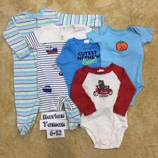 5pc Combo set boy sleepsuit jumper romper