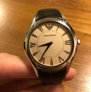 Emporio Armani Vintage watch in Brown Leather