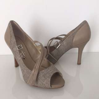 Tweed and leather open toe high heels size 8