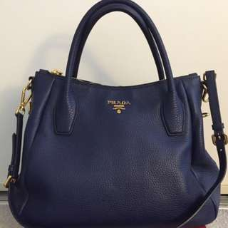Prada Vitello Daino Leather Convertible Bag saffiano leather Blue authentic top handle sling bag authentic original