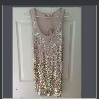 NEW FCUK gold sequin dress size 2