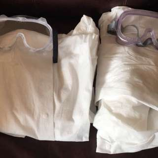 Lab coats and goggles for science lab courses