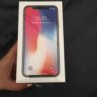 iPhone X 256GB. Un-opened. High quality Silicone case & 2 glass screen protectors