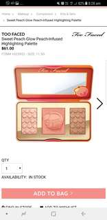 Toofaced sweet peach glow palette