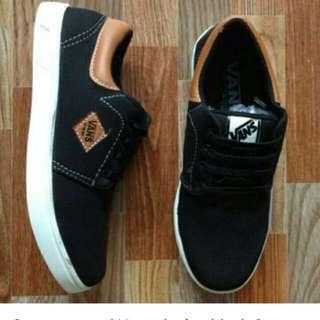 Sepatu casual Vans denim black & brown DMC13 limited edition