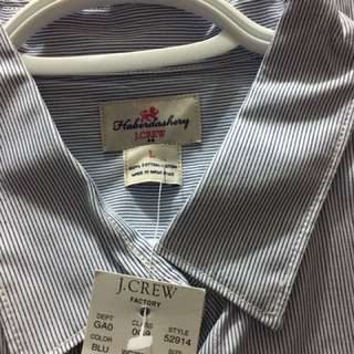 J Crew Blue and White thin Pin Stripe oxford