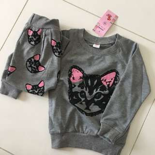 Kitty Cat Long Pants and Sleeves for Girl or Boy