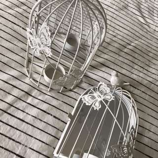 Wall hanging candle bird cage mirrors