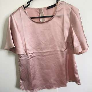 Ally Size 6 Dusty Pink Satin Blouse/Top