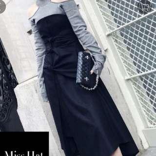 灰色高領露膊上衣top