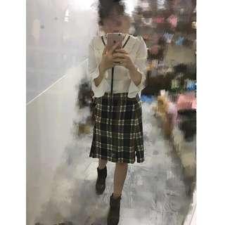 (全新)冬天氣質綁帶蝴蝶結深藍色拼接白色學院風拚格紋下擺開衩裙子長裙子A字裙過膝裙及膝裙