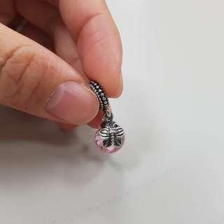 Pandora 蝴蝶粉色鋯石球