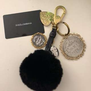 Dolce & Gabbana  Lapin fur key chain with Matt gold and shiny silver hardware