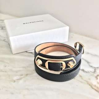 Balenciaga Triple Tour bracelet - black leather and gold