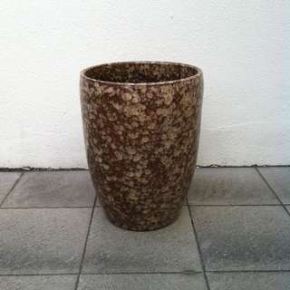 Big Brown glazed ceramic Vase or flower pot.  Dimension 13 inches diameter and 17 in height