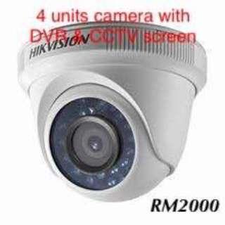 4 units camera with DVR & CCTV screen (CCTV set)