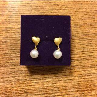 18K Heart Earings with Pearl
