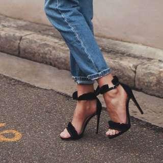Black frill heels Size 38