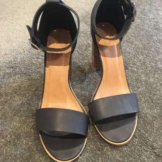 Rubi black ankle strap heels size 9