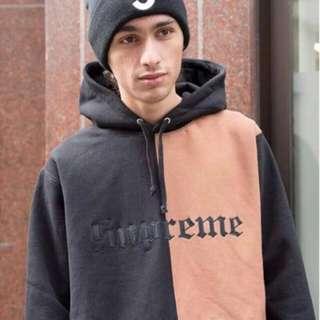 Supreme Split Old English Hooded Sweatshirt 拼接 黑XL