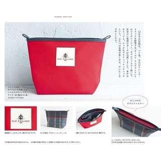 日雜附錄~OLD ENGLAND 大紅色雙拉鍊雙面格紋款 化妝包 洗漱包