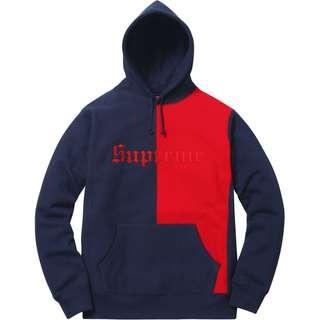 Supreme Split Old English Hooded Sweatshirt 拼接 深藍L