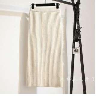 針織條紋開叉長裙