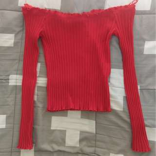 ALLY Off Shoulder Frill Top Long Sleeve